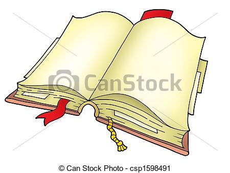 Clipart of Open book on white background.