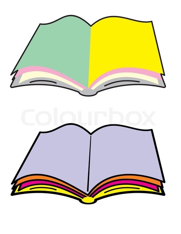 Open book with blank color pages.