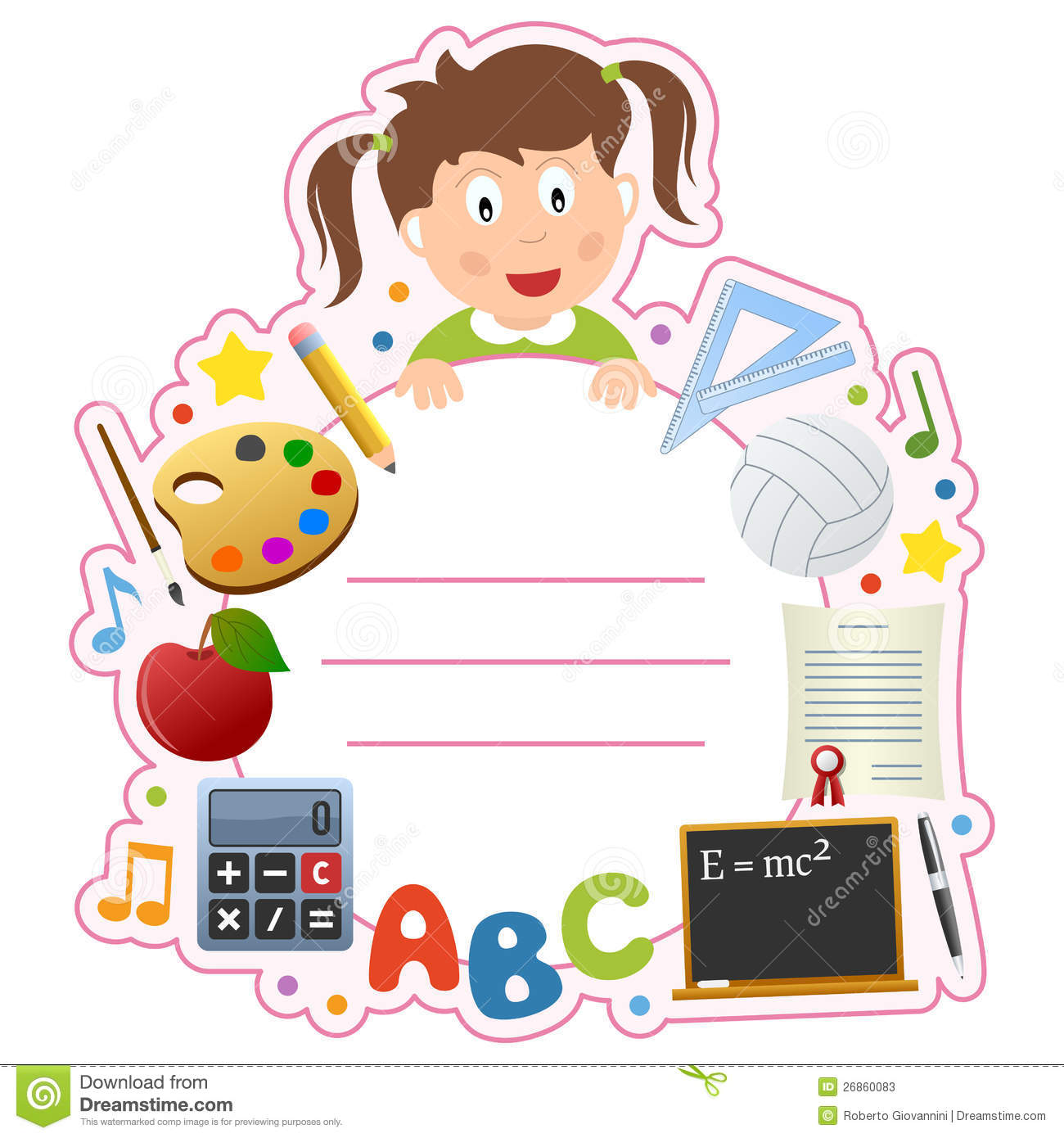 School Girl Book Cover Frame Stock Vector.