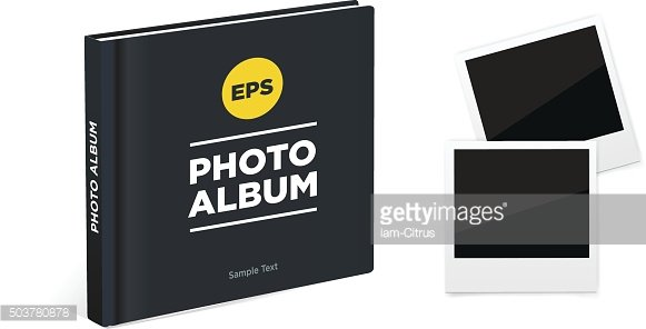 album book with black cover and photo frames. Vector mockup.