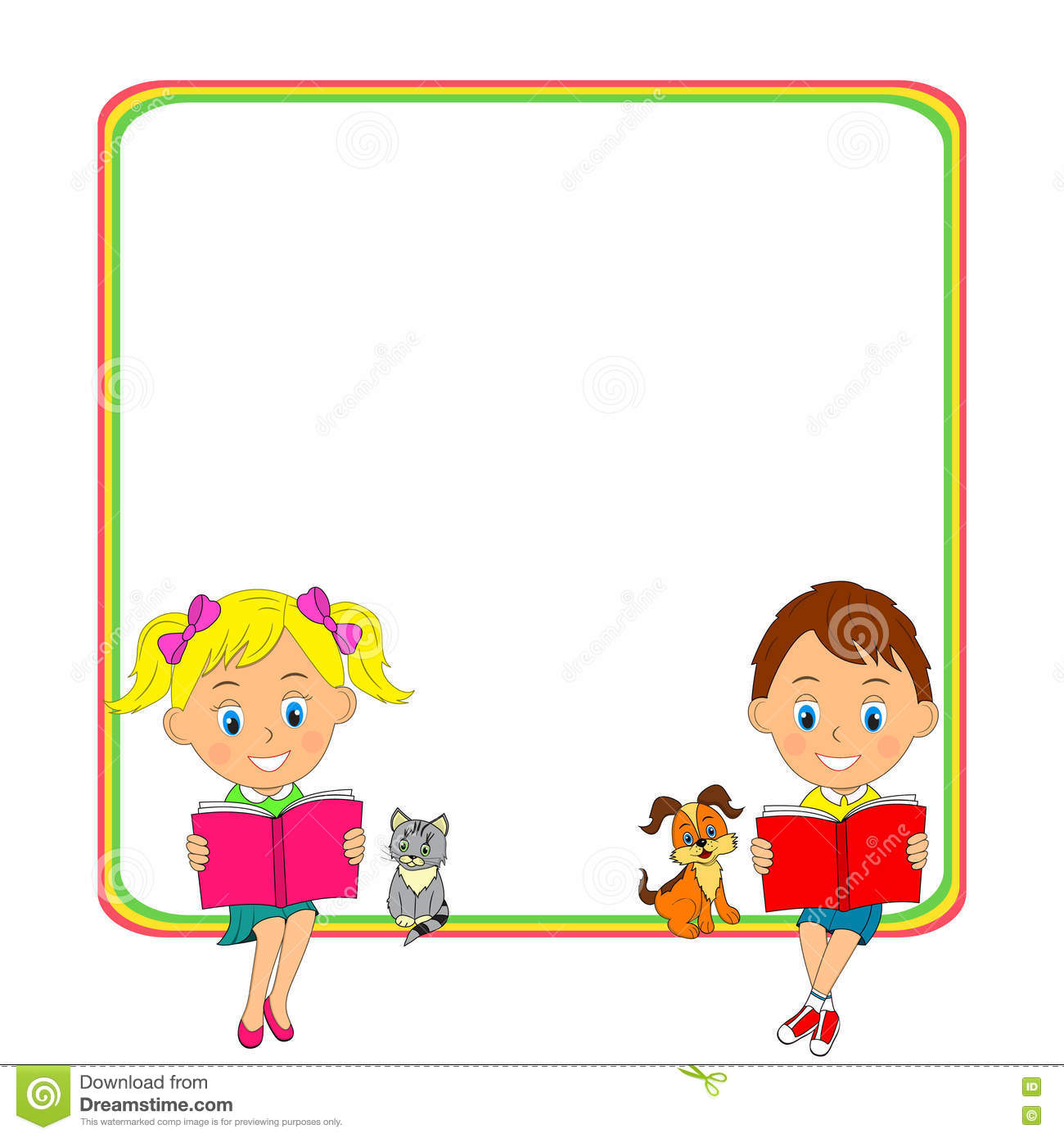 Girls And Boys Read The Book And Frame Stock Vector.