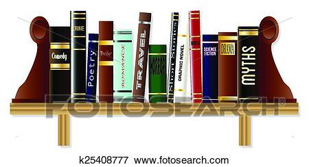 Genre Book Shelf Clip Art.