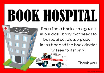 FREE Book Hospital Signs by Imaginative Teacher.