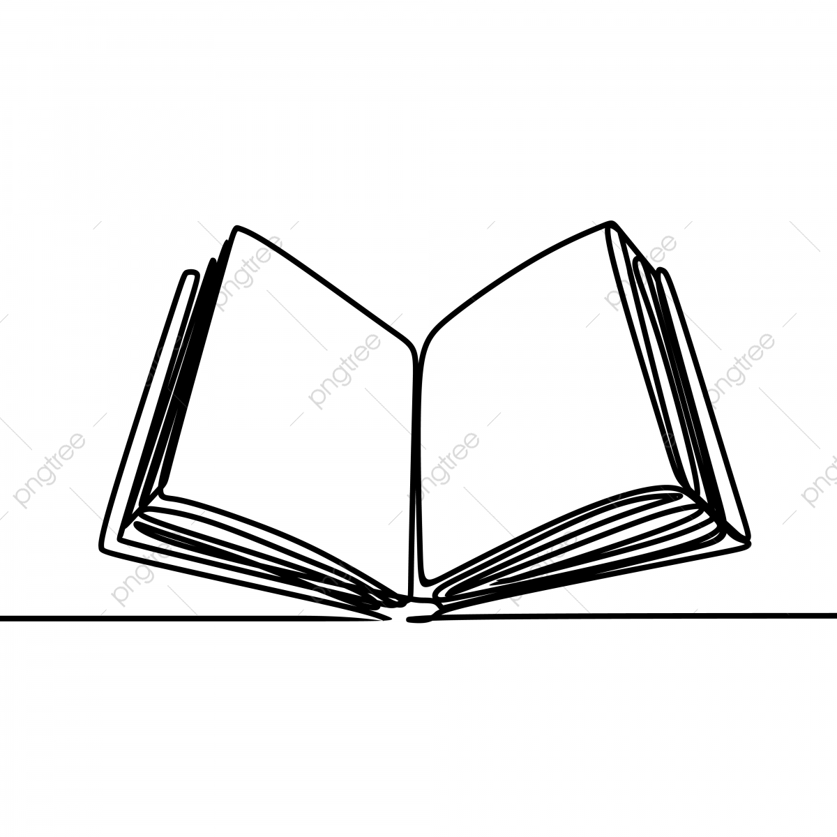 Book Open Single One Line Art Drawing Vector Illustration, Book.