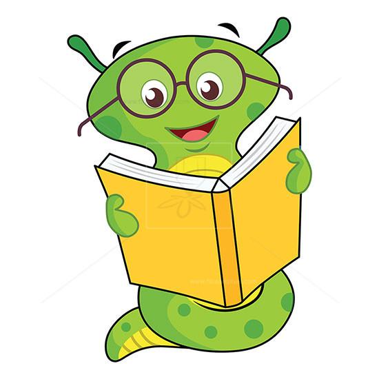 Cartoon worm reading book illustration.