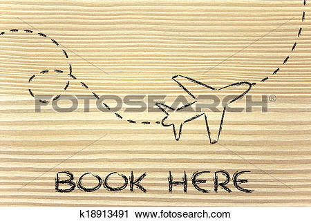 Clipart of travel industry: airplane and air route or trail.