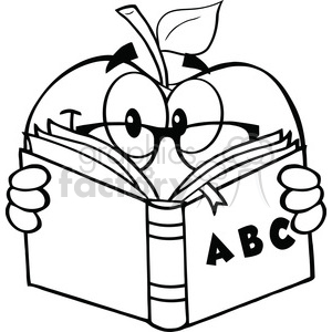 6522 Royalty Free Clip Art Black and White Apple Teacher Character Reading  A Book clipart. Royalty.