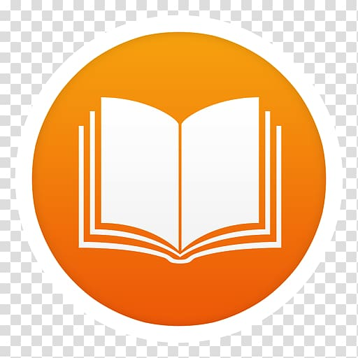 White and orange book logo, symbol yellow orange logo, iBooks.