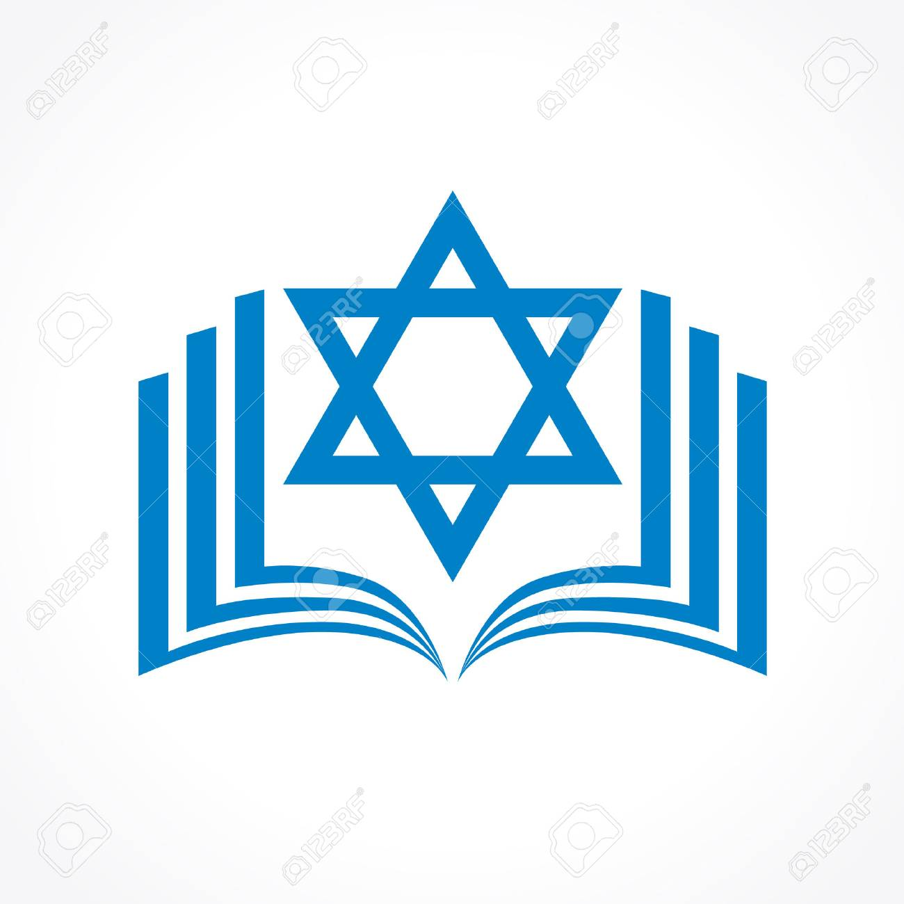 Online torah or tanakh vector logo. Open book with david star...