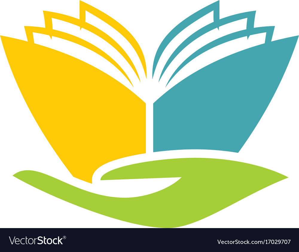 Book abstract hand education logo.