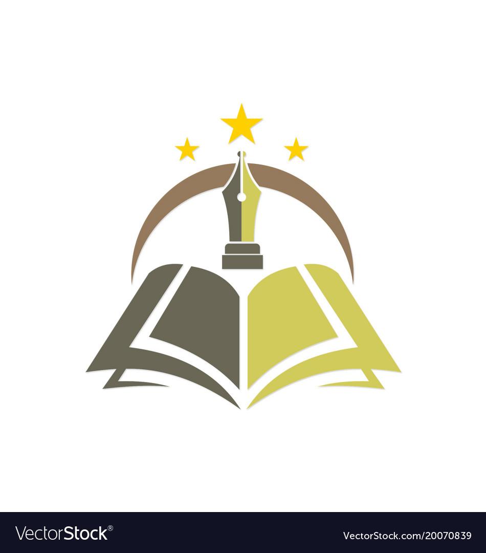 Knowledge book pen education logo.