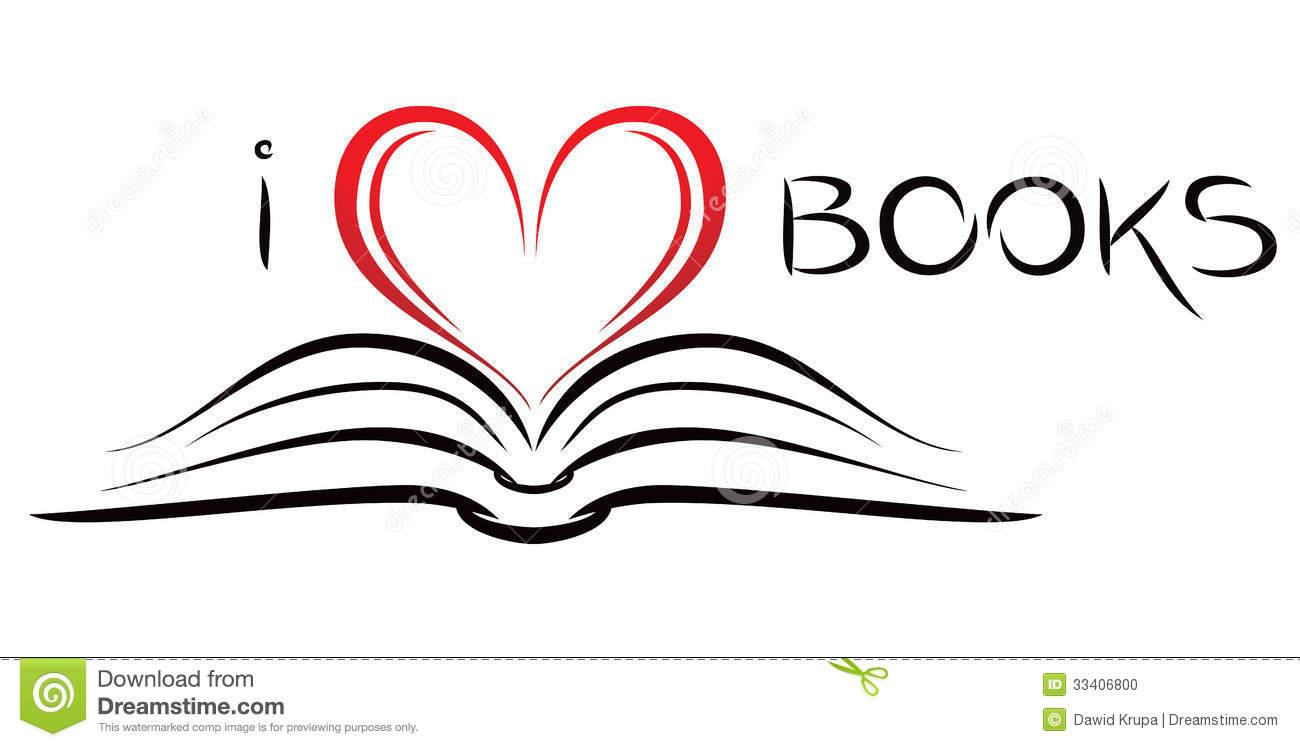 I love books stock vector. Illustration of white, silhouette.