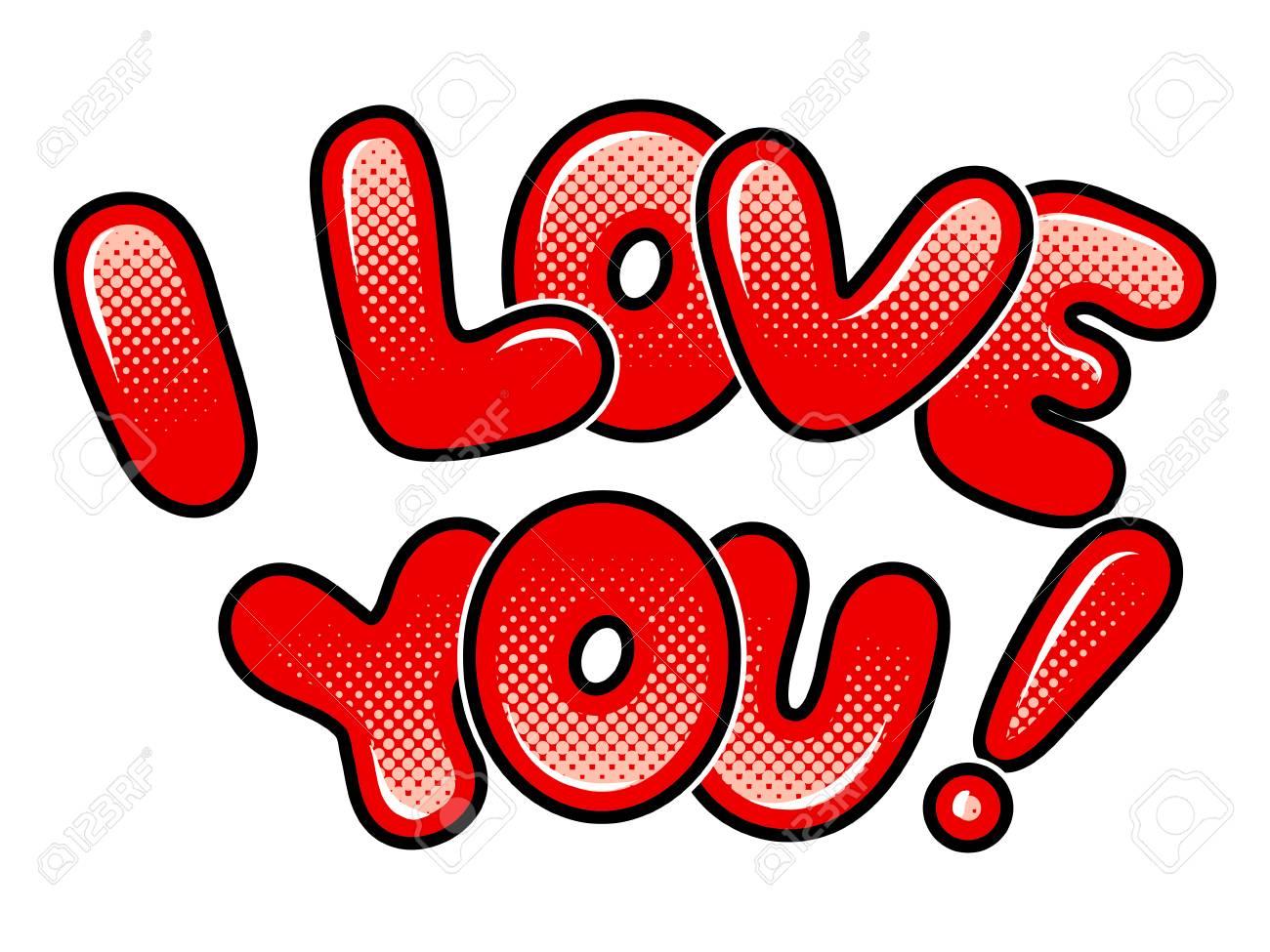 I love you words comic book pop art vector.