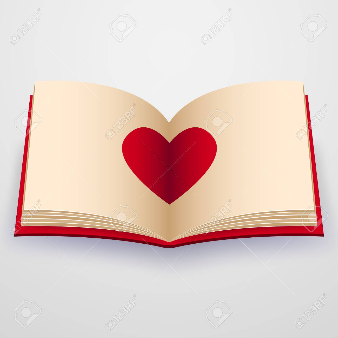 Valentines day , Illustration of love , Open book with heart.