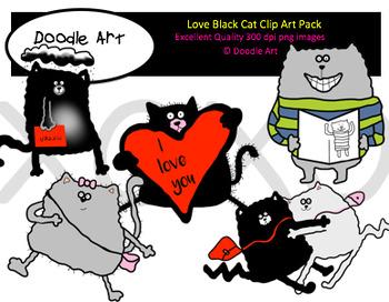 Love, Black Cat Clipart Pack.