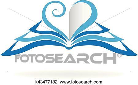 Book love shape logo Clipart.