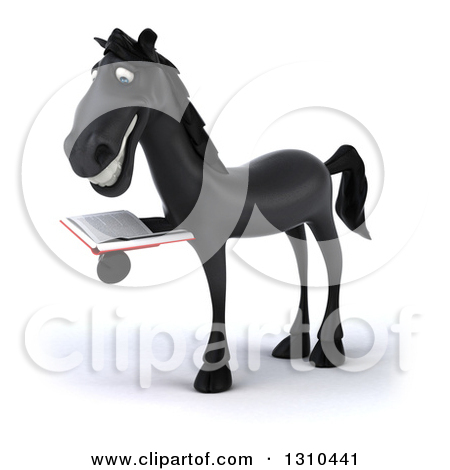 Clipart of a 3d Black Horse Facing Left and Reading a Book.