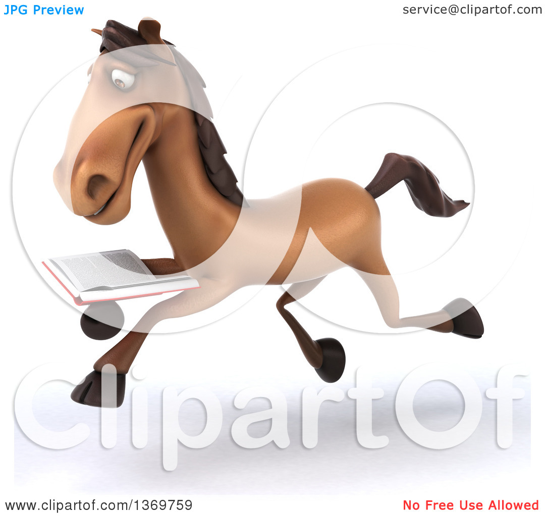 Clipart of a 3d Brown Horse Reading a Book, on a White Background.