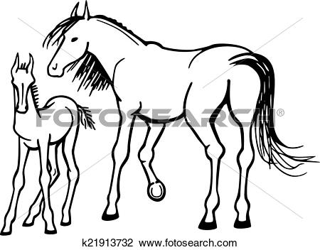 Clipart of Mare and Foal k21913732.