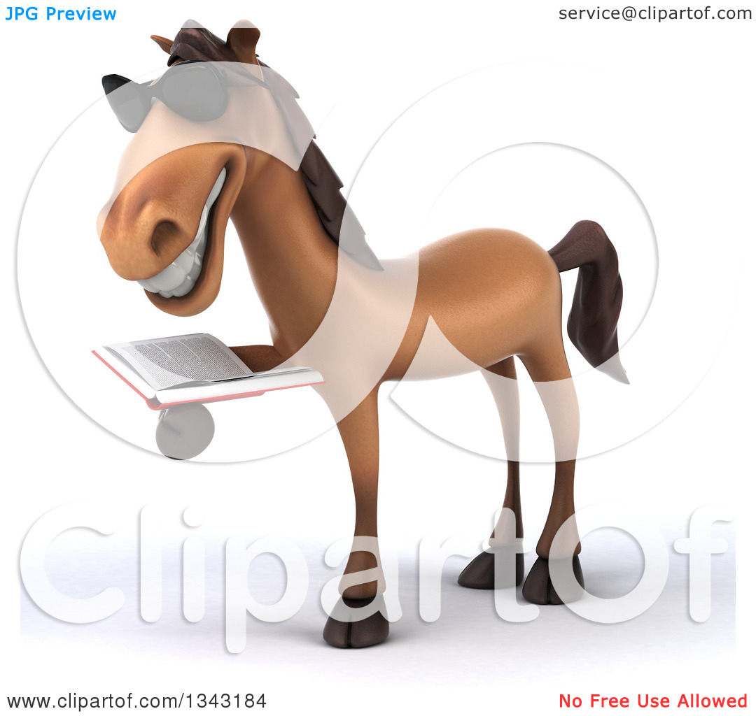 Clipart of a 3d Brown Horse Wearing Sunglasses, Facing Slightly.