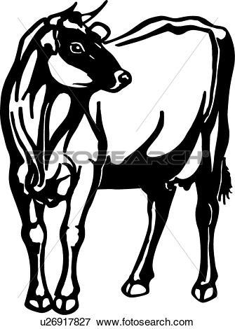 Clip Art of , animal, breeds, cattle, cow, farm, jersey, livestock.