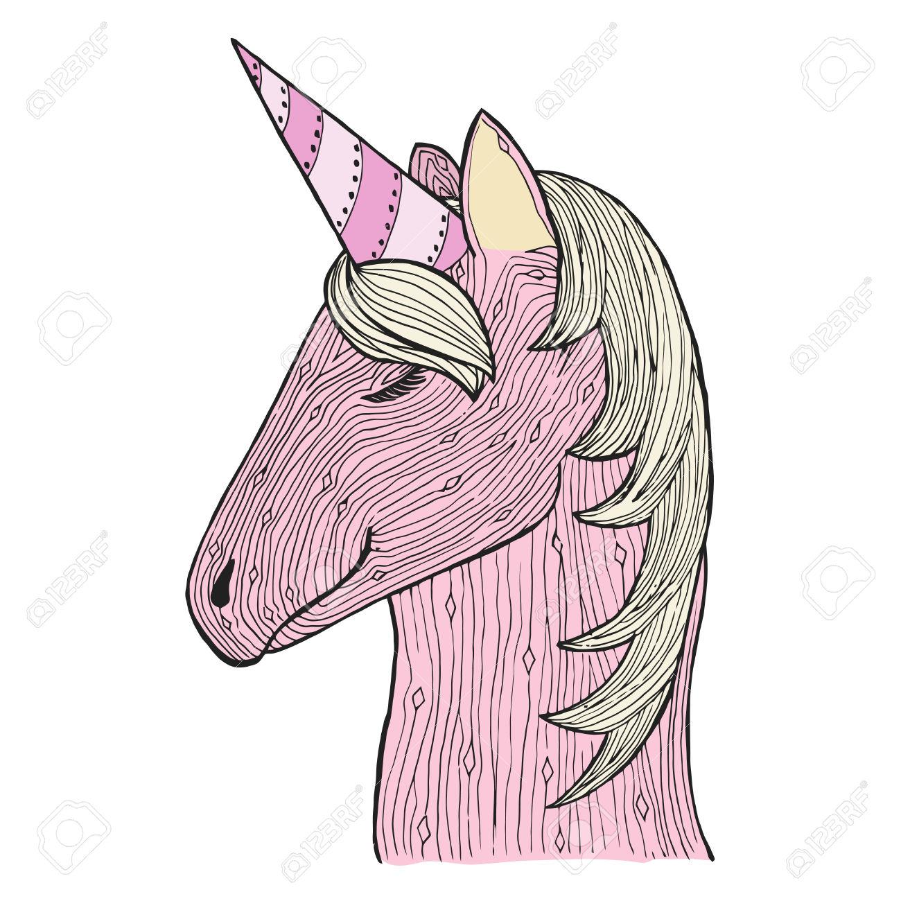 Zen Tangle And Doodle Unicorn. Zentangle Mare. Zendoodle Magic.