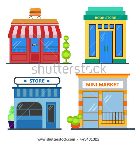 Set Of Nice Shops. Different Showcases: Burgers Restaurant, Store.