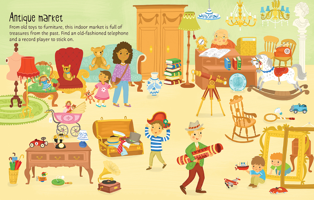 Usborne First Sticker Book Market — Vicki Gausden Illustrator.