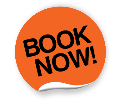Orange Book Now Sticker transparent PNG.