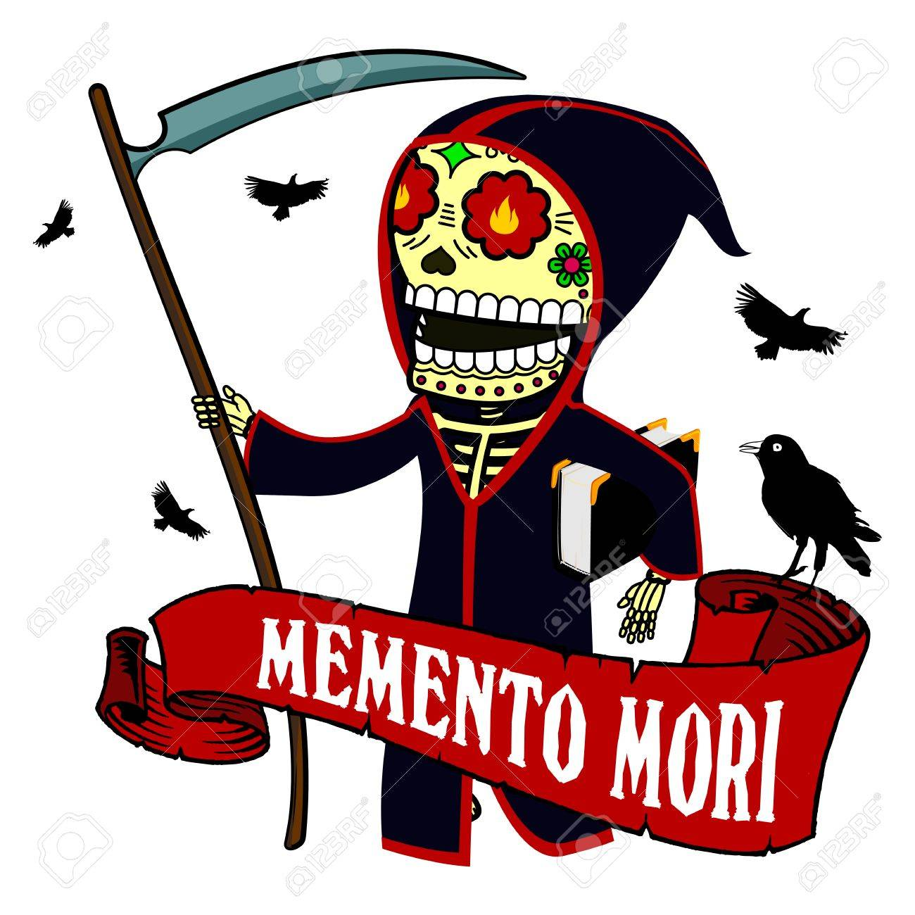 The old Death with a scythe and a book of life. Vector flat and...