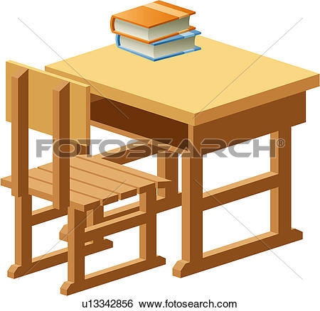 Clip Art of object, table, school, wooden, book, chair u13342856.