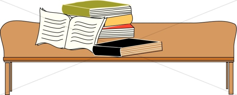 Bible and Books on Coffee Table.
