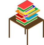Clipart Vector of Books on brown table.