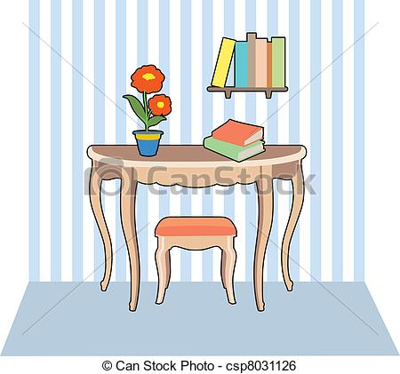 Clip Art Vector of Table and books.