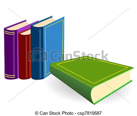 Vectors Illustration of The four books on a table.