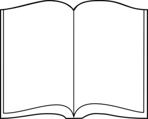 Open Book Outline Clipart.