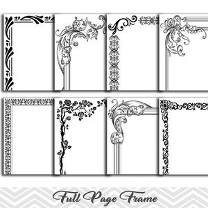 8 Black Full Page Border Clip Art, Full Page Border Clipart.