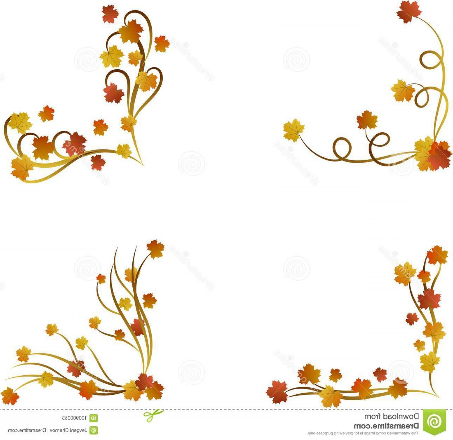 Autumn Maple Leaves Border Set Colorful Autumnal Page Borders.