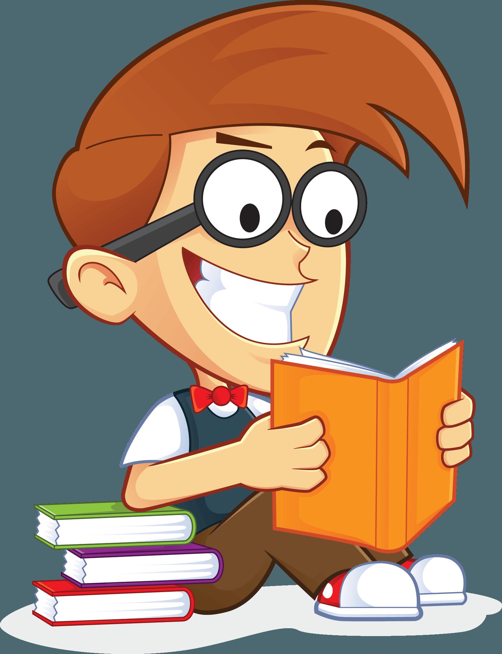 Free Nerd Geek Reading Book People High Resolution Clip Art.