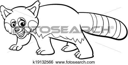 Clip Art of red panda cartoon coloring page k19132566.