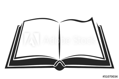 Black silhouette of open book. Vector illustration..
