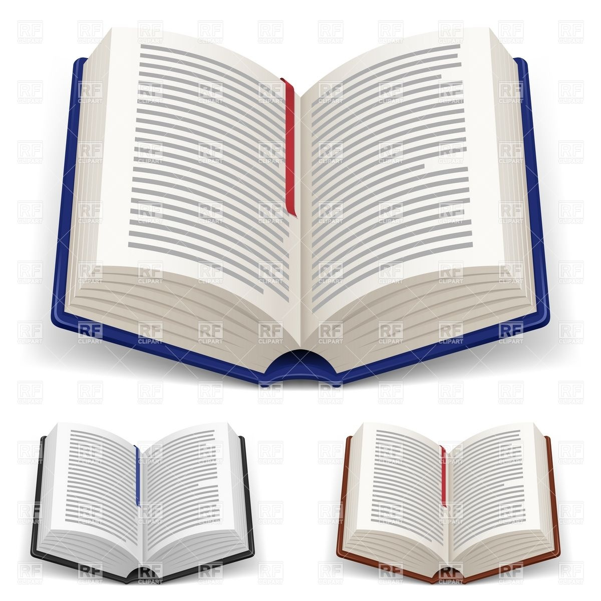 Open hardcover books with bookmark Stock Vector Image.