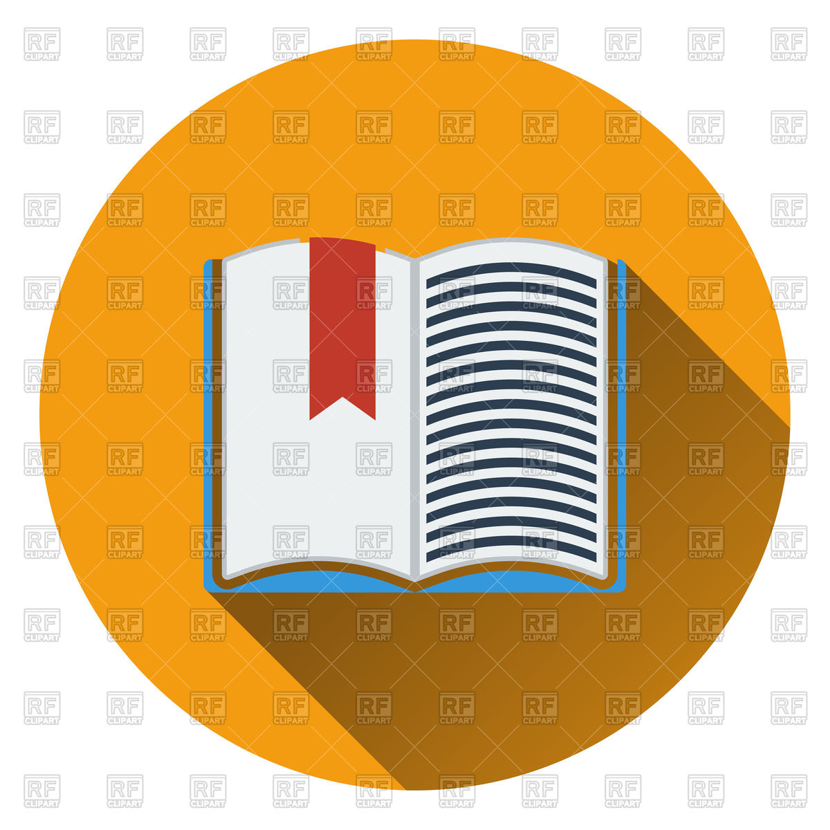 Open book with bookmark icon Stock Vector Image.