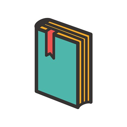 Standing Book With Bookmark Icon premium clipart.