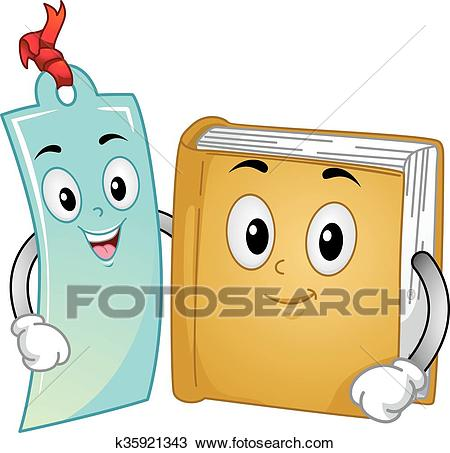 Mascot Book and Bookmark Clipart.