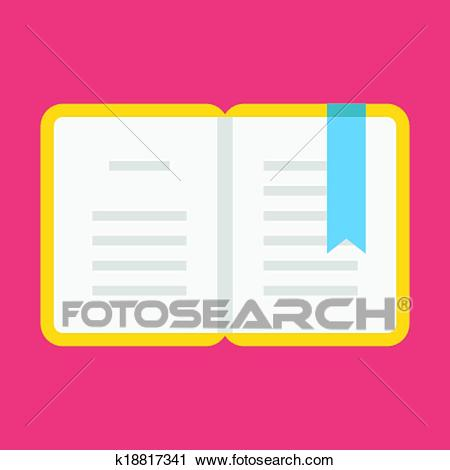 Vector Opened Book with Bookmark Ic Clipart.