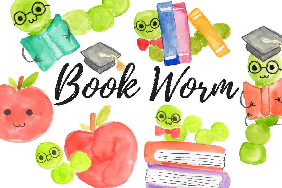 Watercolor school bookworm clipart.