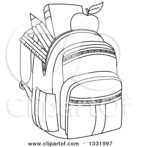 Lineart Clipart of a Black and White Backpack Stuffed with School.
