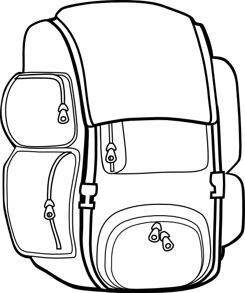 Free Backpack Clipart Black and White Image.