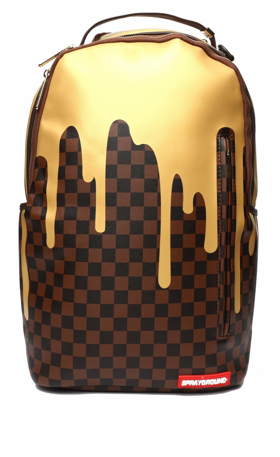 Sprayground Gold Checkered Drips Backpack.
